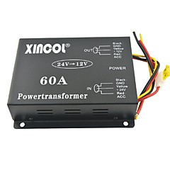 cheap Power Inverter-Xincol® Vehicle Car DC 24V to 12V 60A Power Supply Transformer Converter with Dual Fan Regulation-Black