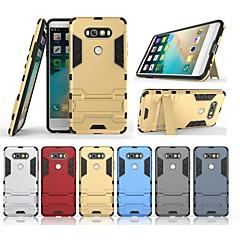 Недорогие Чехлы и кейсы для LG-Кейс для Назначение LG V20 Защита от удара / со стендом Кейс на заднюю панель Однотонный / броня Твердый ПК для LG V20