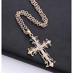 abordables Collares-Mujer Collares con colgantes - Cruz Elegante, Clásico Dorado 70 cm Gargantillas Joyas 1pc Para Diario