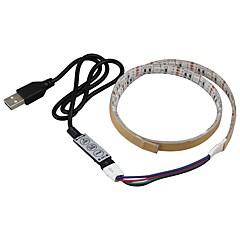 お買い得  LED ストリングライト-0.5m ライトセット 15 LED SMD5050 1×調光スイッチ RGB 防水 / パーティー / 車に最適 5 V 1セット