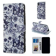 Недорогие Кейсы для iPhone 5-Кейс для Назначение Apple iPhone XR / iPhone XS Max Кошелек / Бумажник для карт / со стендом Чехол Черепа Твердый Кожа PU для iPhone XS / iPhone XR / iPhone XS Max