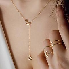 preiswerte Halsketten-Damen Charm Halskette - Strass MOON, Stern Einfach, Romantisch, Modisch Heart, lieblich Gold, Silber 55 cm Modische Halsketten Schmuck 1pc Für Party / Abend, Party