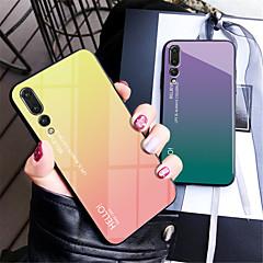 お買い得  Huawei Pシリーズケース/ カバー-ケース 用途 Huawei P20 / P20 Pro ミラー バックカバー カラーグラデーション ハード 強化ガラス のために Huawei P20 / Huawei P20 Pro / Huawei P20 lite
