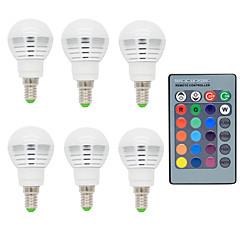 お買い得  LED 電球-6本 2 W 150 lm E14 LEDボール型電球 1 LEDビーズ リモコン操作 / 装飾用 RGB 85-265 V