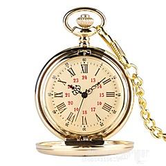 お買い得  メンズ腕時計-男性用 懐中時計 クォーツ ゴールド カジュアルウォッチ ハンズ ヴィンテージ カジュアル - ゴールド