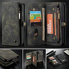 Недорогие Кейсы для iPhone 6 Plus-CaseMe Кейс для Назначение Apple iPhone X / iPhone 8 / iPhone 8 Plus Кошелек / Бумажник для карт / со стендом Чехол Однотонный Твердый Кожа PU для iPhone XS / iPhone XR / iPhone XS Max