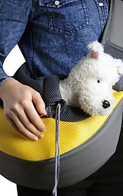 رخيصةأون -قط كلب الحاملة حقائب تحمل على الظهر وللسفر حقيبة الكتف قماش حيوانات أليفة سلال لون سادة المحمول متنفس أزرق زهري أزرق فاتح