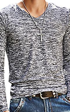 رخيصةأون -رجالي أساسي طباعة تيشرت, لون سادة V رقبة نحيل / كم طويل / الربيع / الخريف