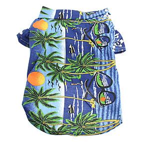 cheap Pet Supplies-Cat Dog Shirt / T-Shirt Dog Clothes Floral / Botanical Yellow Blue Rainbow Cotton Costume For Summer Men's Women's Holiday Fashion