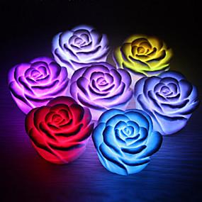 Недорогие LED гаджеты-роза цветок привело свет ночь изменения цвета изменения романтической свечи фонарь