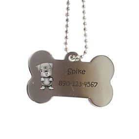 ieftine Noutăți-Produse Personalizate-Personalizate cadouri Bone Forma Silver Pet Id Name Tag cu lanț pentru câini