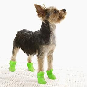 baratos Suprimentos Para Animais De Estimação-Cachorros Botas e Sapatos para Cachorros Botas de Chuva Prova-de-Água Estilo bonito Para animais de estimação silica Gel Silicone PVC Amarelo