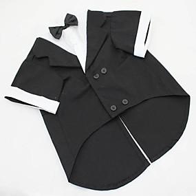 cheap Pet Supplies-Dog Costume Tuxedo Dog Clothes Solid Colored Black Gray Cotton Costume For Husky Labrador Bulldog Spring &  Fall Summer Men's Cosplay Wedding