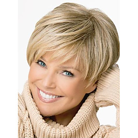 cheap Makeup & Nail Care-Synthetic Wig Straight Style Pixie Cut Capless Wig Blonde Light Brown Synthetic Hair Women's Side Part Blonde Wig Short StrongBeauty