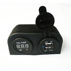 voordelige Autoladers-dc12v 3.1a autolader tweegatspaneel met dubbele led usb-poorten led digitaal display voltmeter vrachtwagen auto motorfiets stopcontact