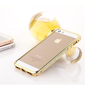 olcso iPhone tokok-Case Kompatibilitás iPhone 5 iPhone 5 tok Strassz Védőkeret Egyszínű Kemény Fém mert iPhone SE / 5s / iPhone 5