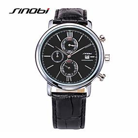 זול שעוני מותגים-SINOBI בגדי ריקוד גברים שעוני ספורט שעון יד שעון תעופה קווארץ עור שחור 30 m עמיד במים לוח שנה שעוני ספורט אנלוגי קסם קלסי - שחור
