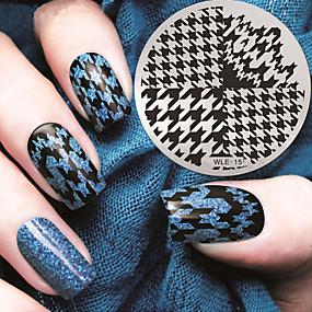 voordelige Nagelstempels-2016 nieuwste versie mode patroon houndstooth nail art afbeelding stempelen template platen