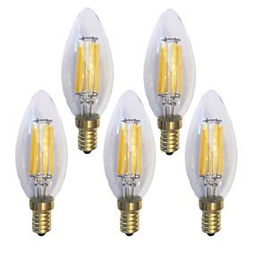 ieftine Lămpi Cu Filament LED-KWB 5pcs 6 W Bec Filet LED 600 lm E14 C35 6 LED-uri de margele COB Rezistent la apă Decorativ Alb Cald 220-240 V / 5 bc / RoHs / CE