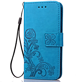 Недорогие Чехлы и кейсы для Galaxy S5 Mini-Кейс для Назначение SSamsung Galaxy S5 Mini / S4 Mini / S3 Mini Кошелек / Бумажник для карт / со стендом Чехол Цветы Мягкий Кожа PU