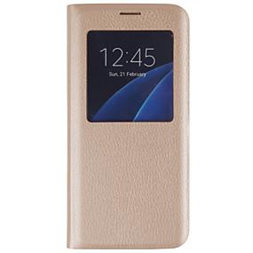 voordelige Galaxy S7 Hoesjes / covers-hoesje Voor Samsung Galaxy S7 edge / S7 / S6 edge plus met venster / Flip Volledig hoesje Effen Hard PU-nahka