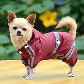 cheap Pet Supplies-Dog Raincoat Dog Clothes Solid Colored Yellow Red Green Acrylic Fibers Costume For Bulldog Shiba Inu Pug Spring &  Fall Summer Men's Women's Waterproof Windproof