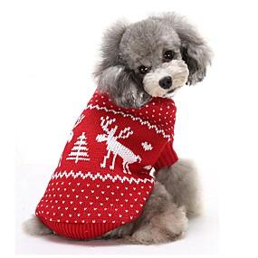 d886f41e7c08 Χαμηλού Κόστους Χριστουγεννιάτικα κοστούμια για κατοικ-Γάτα Σκύλος Πουλόβερ  Ρούχα για σκύλους Τάρανδος Κόκκινο Μπλε