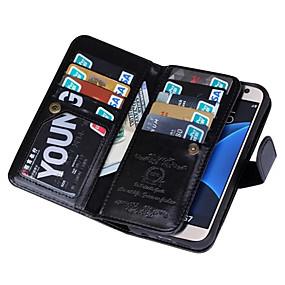 voordelige Galaxy S7 Hoesjes / covers-hoesje Voor Samsung Galaxy S7 edge / S7 / S6 edge Portemonnee Volledig hoesje Effen Kleur PU-nahka