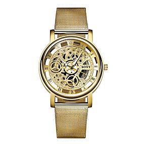 voordelige Merk Horloge-SOXY Voor Stel Skeleton horloge Polshorloge Kwarts Zilver / Goud 30 m Hol Gegraveerd Analoog Klassiek Informeel Modieus - Goud Zilver Een jaar Levensduur Batterij / SSUO 377