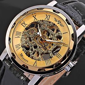 ieftine Bijuterii&Ceasuri-WINNER Bărbați Ceas Schelet Ceas de Mână ceas mecanic Mecanism manual Piele PU Matlasată Negru Gravură scobită Cool Analog Roz auriu Negru / Argintiu Alb / Argintiu