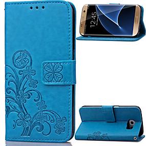 Недорогие Чехлы и кейсы для Galaxy S5 Mini-Кейс для Назначение SSamsung Galaxy S8 Plus / S8 / S7 edge Кошелек / Бумажник для карт / со стендом Чехол Цветы Кожа PU
