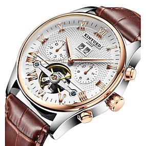 voordelige Merk Horloge-KINYUED Heren Skeleton horloge Polshorloge mechanische horloges Japans Automatisch opwindmechanisme Leer Zwart / Bruin 30 m Waterbestendig Kalender Chronograaf Analoog Luxe Klassiek Dress horloge -