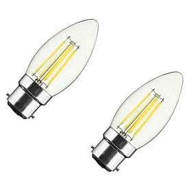 Χαμηλού Κόστους Λαμπτήρες LED με νήμα πυράκτωσης-ONDENN 2pcs 4 W LED Λάμπες Πυράκτωσης 350 lm B22 E26 / E27 CA35 4 LED χάντρες COB Με ροοστάτη Θερμό Λευκό 85-265 V / 2 τμχ / RoHs