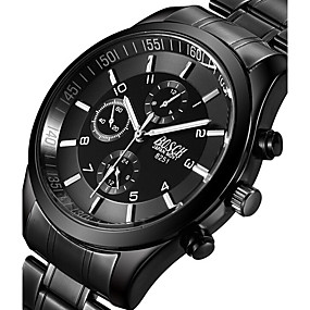 ieftine Ceasuri de Marcă-BOSCK Bărbați Ceas Militar  Ceas de Mână Aviation Watch Quartz Oțel inoxidabil Negru 50 m Luminos Iluminat Cool Analog Charm Casual Modă - Negru Gri Trandafiriu Doi ani Durată de Viaţă Baterie