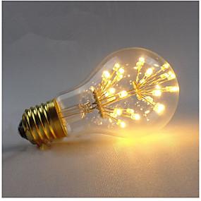 Χαμηλού Κόστους Λαμπτήρες LED με νήμα πυράκτωσης-1pc 3 W LED Λάμπες Πυράκτωσης 200-300 lm E26 / E27 A60(A19) 30 LED χάντρες SMD Διακοσμητικό Έναστρος Θερμό Λευκό 85-265 V / 1 τμχ / RoHs