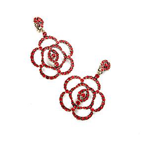 billige Blomstersmykker-Dame Krystall Store Øreringer Blomst Blomst Personalisert Blomster Euro-Amerikansk øredobber Smykker Rød Til Bryllup Fest Bursdag Gave