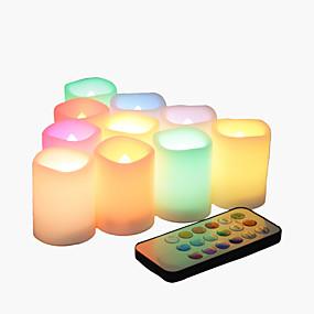 ieftine Lumini Nocturne LED-10 pachet fără flacără pâlpâitoare baterie funcționează lumanari votiv cu schimbarea culorii de la distanță condus de ceai lumini decorative pentru Halloween Crăciun nunta petrecere eveniment acasă bu