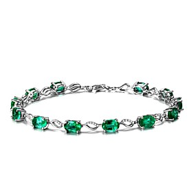 billige Sterling Sølv-Dame Syntetisk Emerald Emerald Cut Kæde & Lænkearmbånd Smaragd Damer Natur Mode Armbånd Smykker Grøn Til Bryllup Fest Fødselsdag Maskerade Forlovelsesfest Skolebal