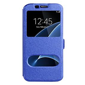 voordelige Galaxy S7 Edge Hoesjes / covers-hoesje Voor Samsung Galaxy S8 Plus / S8 / S7 edge met venster Volledig hoesje Effen Hard PU-nahka