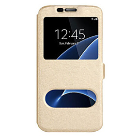 voordelige Galaxy J5 Hoesjes / covers-hoesje Voor Samsung Galaxy J7 (2017) / J7 (2016) / J7 met venster Volledig hoesje Effen Hard PU-nahka