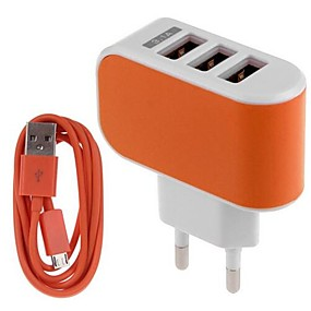 billige Lader med kabel-Stasjonær lader / Bærbar lader USB-lader Eu Plugg Lader Kitt / Flere porter 3 USB-porter 3.1 A til