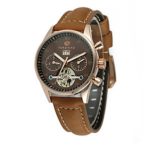 levne Mechanické hodinky-FORSINING Dámské Náramkové hodinky Automatické  natahování Wrap Pravá kůže Černá 30 m 6d08eb89171