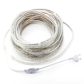 ieftine Benzi Lumină LED-zdm ac220v 20m 1200 smd led 5050 led smd 12mm single core impermeabil în exterior bandă flexibilă cu frânghie bandă ușoară eu eu