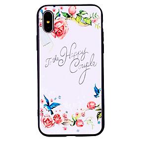 olcso iPhone tokok-Case Kompatibilitás Apple iPhone X iPhone 8 Jeges Minta Dombornyomott Fekete tok Virág Állat Puha TPU mert iPhone X iPhone 8 Plus iPhone