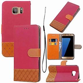 Недорогие Чехлы и кейсы для Galaxy S5 Mini-Кейс для Назначение SSamsung Galaxy S8 Plus / S8 / S7 edge Кошелек / Бумажник для карт / со стендом Чехол Геометрический рисунок Твердый текстильный