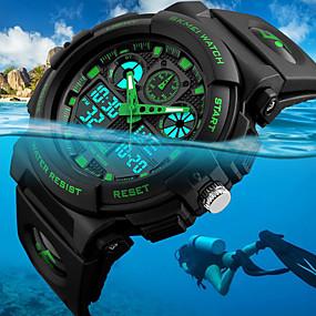 ieftine Ceasuri de Marcă-SKMEI Bărbați Ceas de Mână Ceas digital Japoneză Quartz Piele PU Matlasată Negru 50 m Rezistent la Apă Alarmă Calendar Analog - Digital Modă - Rosu Verde Albastru Doi ani Durată de Viaţă Baterie