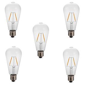 Χαμηλού Κόστους Λαμπτήρες LED με νήμα πυράκτωσης-5pcs 2 W LED Λάμπες Πυράκτωσης 180 lm E26 / E27 ST64 2 LED χάντρες COB Διακοσμητικό Θερμό Λευκό Ψυχρό Λευκό 220-240 V / RoHs