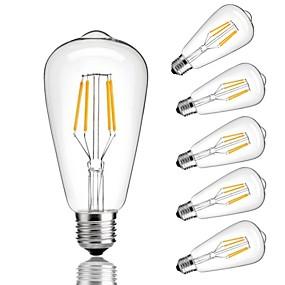 Χαμηλού Κόστους Λαμπτήρες LED με νήμα πυράκτωσης-6pcs 4 W LED Λάμπες Πυράκτωσης 360 lm E26 / E27 ST64 4 LED χάντρες COB Διακοσμητικό Θερμό Λευκό Ψυχρό Λευκό 220-240 V / RoHs
