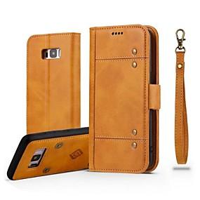 voordelige Galaxy S7 Edge Hoesjes / covers-hoesje Voor Samsung Galaxy S8 Plus / S8 / S7 edge Portemonnee / Kaarthouder / Flip Volledig hoesje Effen Hard aitoa nahkaa