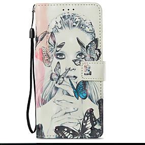 voordelige Galaxy S7 Hoesjes / covers-hoesje Voor Samsung Galaxy S9 / S9 Plus / S8 Plus Kaarthouder / met standaard / Flip Volledig hoesje Vlinder / Sexy dame Hard PU-nahka